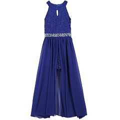 Girls 7-16 & Plus Size Speechless Keyhole Glitter Lace Bodice Walk-Through Dress
