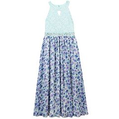Girls 7-16 & Plus Size Speechless Keyhole Glitter Lace Bodice Floral Skirt Dress