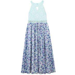 Girls 7-16 & Plus Size Speechless Keyhole Glitter Lace Bodice Floral Skirt Dress