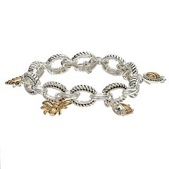 Napier Two Tone Oval Critter Charm Stretch Bracelet