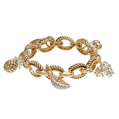 Napier Oval Pineapple Charm Stretch Bracelet