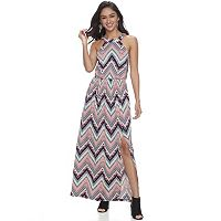 Juniors' Three Pink Hearts Halter Maxi Dress