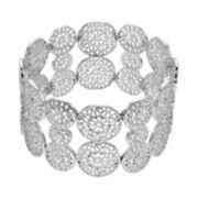 Silver Tone Filigree Flower Stretch Bracelet