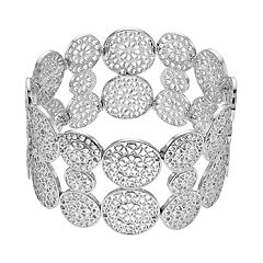 Silver Tone Filigree Flower Stretch Bracelet