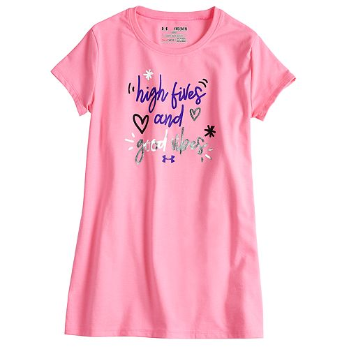 "Girls 7-16 Under Armour ""High Fives And Good Vibes"" Tee"