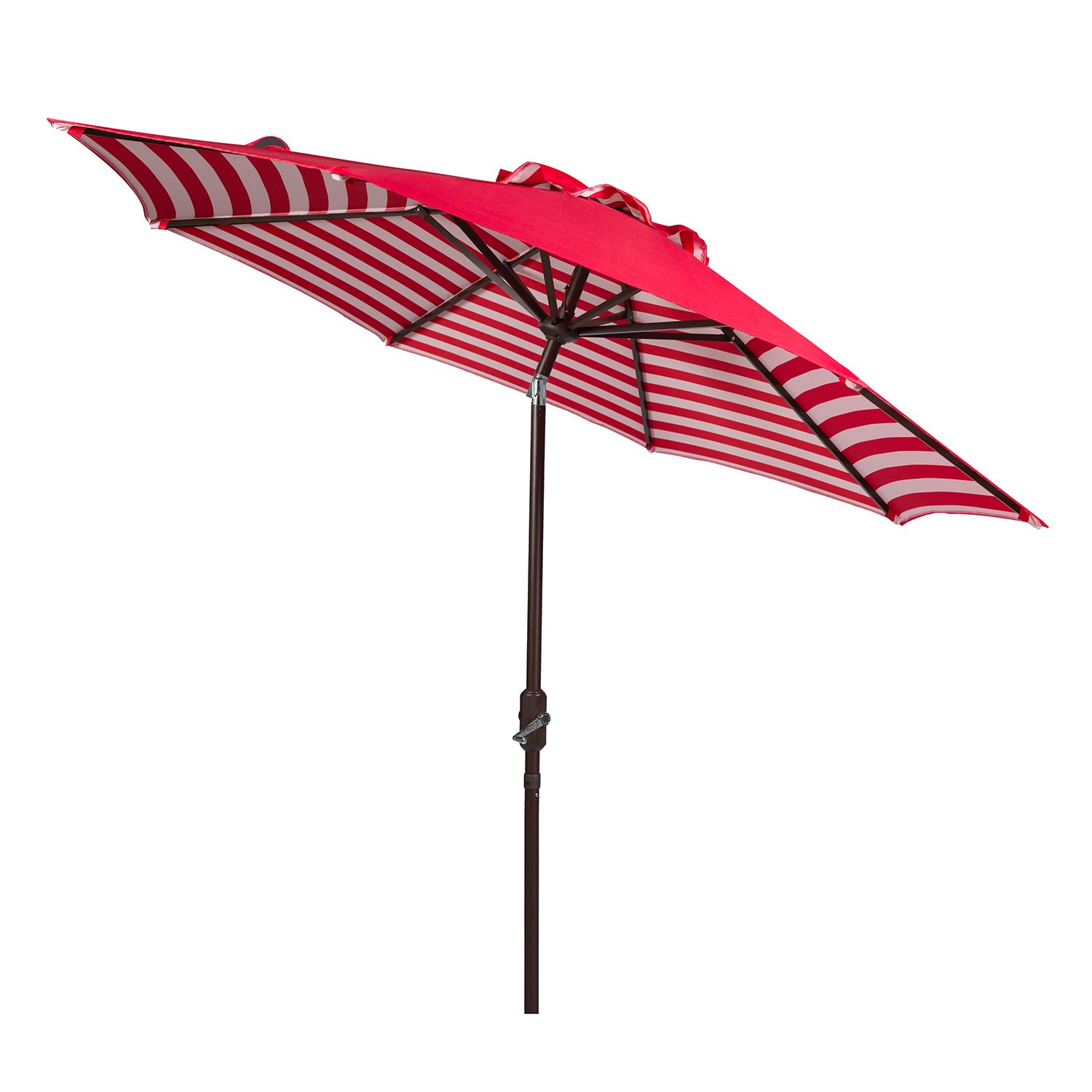 Striped Outdoor Patio Umbrella. Blue Green Brown Red