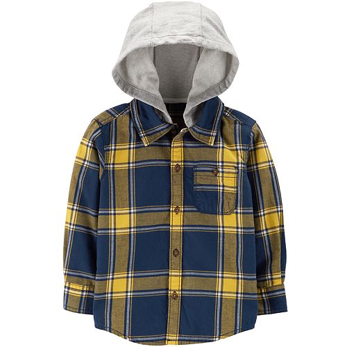ce74f4310 Baby Boy Carter's Flannel Plaid Hooded Button Down Shirt