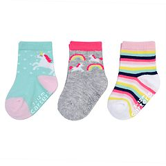 Baby / Toddler Girl Carter's 3-pack Rainbow & Unicorn Crew Socks
