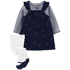 Baby Girl Carter's Corduroy Jumper, Striped Tee & Tights Set