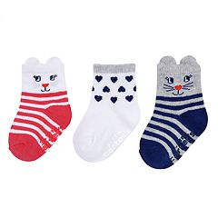 Baby / Toddler Girl Carter's 3-pack Animal & Heart Crew Socks