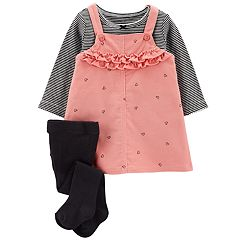 Baby Girl Carter's Ruffled Corduroy Jumper, Striped Tee & Tights Set