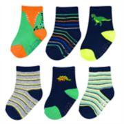 Baby / Toddler Boy Carter's 6-pack Dinosaur & Striped Crew Socks