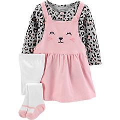 Baby Girl Carter's Kitty Cat Jumper, Animal Print Tee & Tights Set