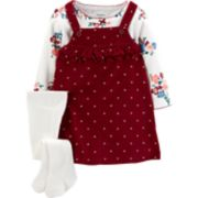 Baby Girl Carter's Polka-Dot Corduroy Jumper, Floral Tee & Tights Set