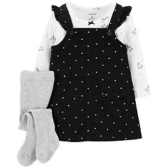 Baby Girl Carter's Polka-Dot Corduroy Jumper, Unicorn Tee & Tights Set