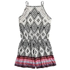 Girls 7-16 Mudd® High Neck Printed Romper