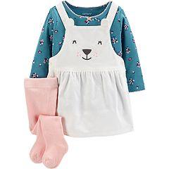 Baby Girl Carter's Polar Bear Jumper, Floral Tee & Tights Set