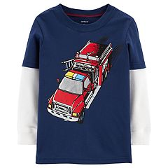 Baby Boy Carter's Mock Layer Fire Truck Graphic Tee