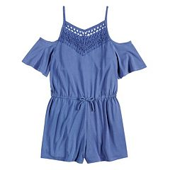 Girls 7-16 Mudd® Crochet Cold Shoulder Romper