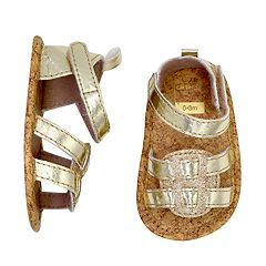 Baby Girl Carter's Gold Glitter Sandal Crib Shoes
