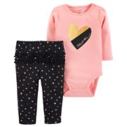 "Baby Girl Carter's ""Mom"" Heart Bodysuit & Ruffled Heart Leggings Set"