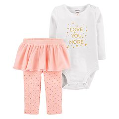 Baby Girl Carter's 'Love You More' Bodysuit & Tutu Dotted Leggings Set