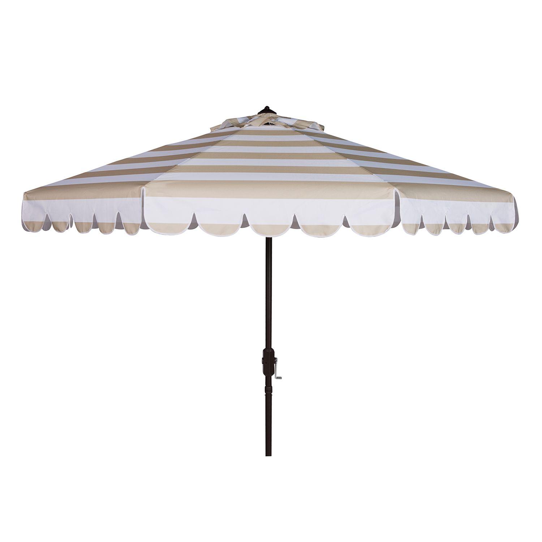 Striped Scalloped Trim Patio Umbrella