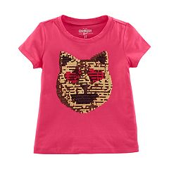 Girls 4-12 OshKosh B'gosh® Reversible Sequin Heart Eyes Cat Graphic Tee