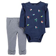 Baby Girl Carter's Ruffled Floral Bodysuit & Striped Leggings Set