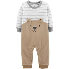 Baby Boy Carter's Bear Fleece Striped Coverall