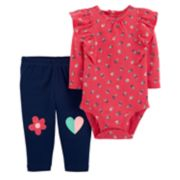 Baby Girl Carter's Ruffled Floral Bodysuit & Patched Knee Leggings Set