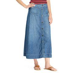 Women's Chaps A-Line Jean Maxi Skirt