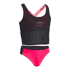Girls 7-16 Under Armour Racer Tankini & Bottoms Swimsuit Set