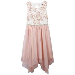 Girls 7-16 Speechless Floral Bodice Handkerchief Hem Dress