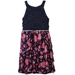 Girls 7-16 Speechless Sparkle Floral Corkscrew Skirt Dress