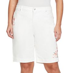 Plus Size Gloria Vanderbilt Amanda Embroidered Bermuda Shorts