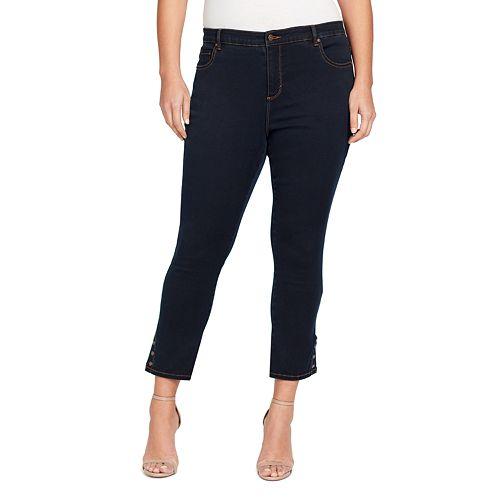 Plus Size Gloria Vanderbilt Amanda Snap-Hem Skinny Ankle Jeans