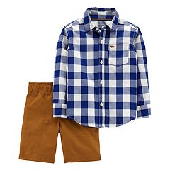 Baby Boy Carter's 2-pc. Checked Button Down Shirt & Woven Shorts Set
