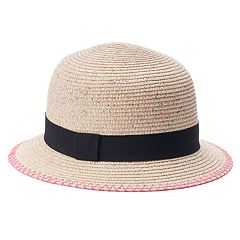 Women's Mudd® Pink Splatter Straw Cloche Hat