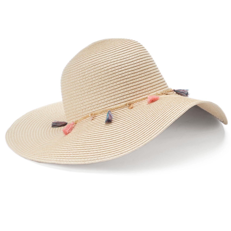 Women\u0027s Mudd® Tassel \u0026 Chain Floppy Hat Womens Beach Hats - Accessories | Kohl\u0027s