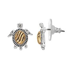 Napier Two Tone Turtle Stud Earrings
