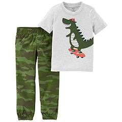 Baby Boy Carter's 2-pc. Dinosaur Skateboard Tee & Camo Jogger Pants Set