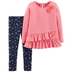 Baby Girl Carter's Ruffled Tunic & Woodland Print Leggings Set