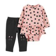 Baby Girl Carter's Cat Peplum Bodysuit & Pants Set