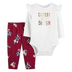 Baby Girl Carter's 'Cutest Little Sister' Ruffle Shoulder Bodysuit & Floral Leggings Set