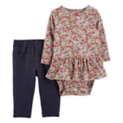 Baby Girl Carter's Floral Peplum Bodysuit & Pant Set