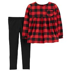 Baby Girl Carter's Buffalo Check Babydoll Top & Leggings Set
