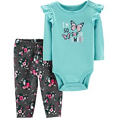 Baby Girl Carter's 'I'm So Super Sweet' Butterfly Bodysuit & Floral Pants Set