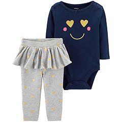 Baby Girl Carter's Smile Bodysuit & Skirted Legging Set