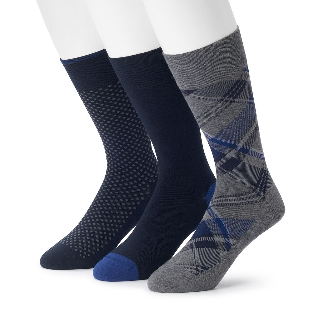Men's 3-pack Marc Anthony Comfort Cuff Plaid Crew Socks